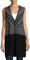 1 STATE 1.STATE Jacquard-Print Long Vest, Rich Black