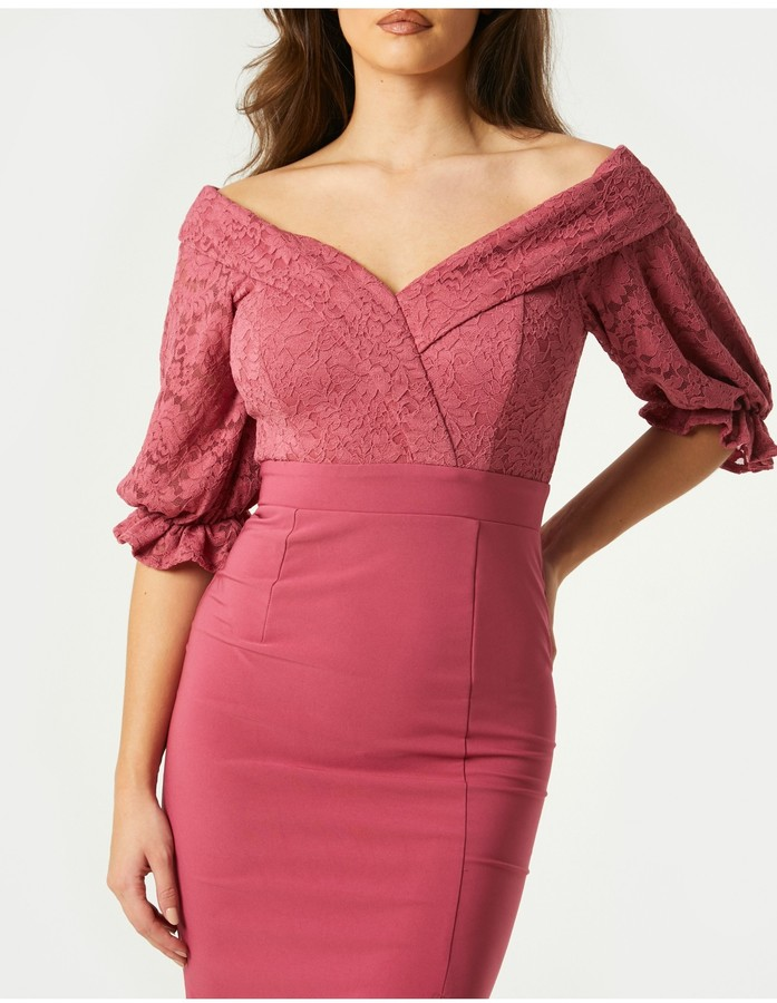 Thumbnail for your product : Little Mistress Clarice Rose Pink Lace Bardot Midi Dress