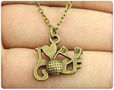 Nobrand No brand antique bronze color 17*22mm i love golf charm necklace