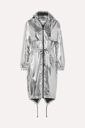 Paco Rabanne Hooded Printed Metallic Shell Jacket - Silver