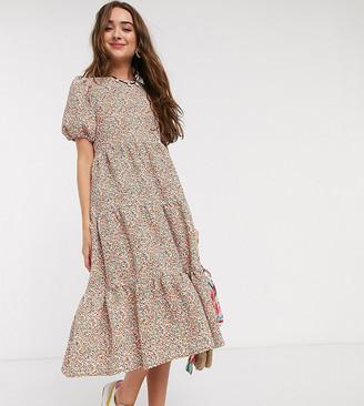 ASOS DESIGN PETITE maxi tiered smock dress in floral print