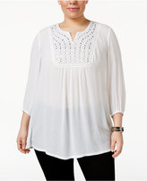Style&Co. Style & Co Plus Size Embellished Peasant Top, Only at Macy's