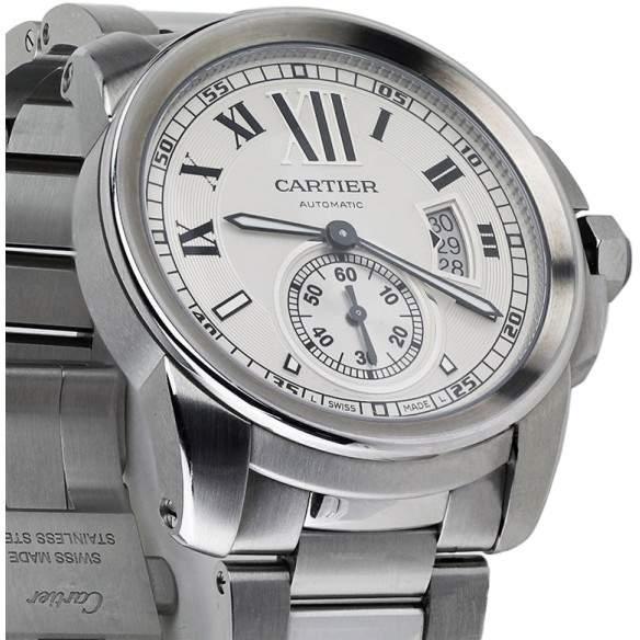 Cartier Calibre de Silver Dial Stainless Steel Automatic Skeleton Men's Watch