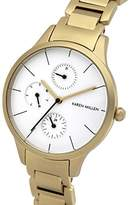 Karen Millen Women's Quartz Watch with White Dial Analogue Display and Gold Stainless Steel Bracelet KM144GM