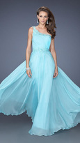 La Femme Asymmetric Long Embellished Dress 19706