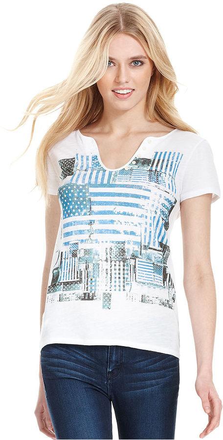 Calvin Klein Jeans Top, Short-Sleeve Graphic Henley
