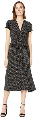MICHAEL Michael Kors Dot Midi Wrap Dress (Black/White) Women's Dress