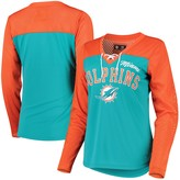 Women's G-III 4Her by Carl Banks Orange/Aqua Miami Dolphins Laces Out Long Sleeve V-Neck T-Shirt