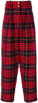 Balmain tartan high-waisted trousers - women - Cotton/Acrylic/Polyamide/Wool - 36