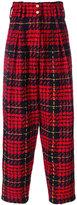 Balmain tartan high-waisted trousers