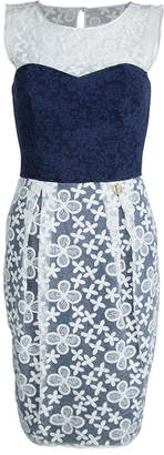 Roberto Cavalli Class By Navy Blue Contrast Lace Detail Floral Embroidered Sleeveless Dress S