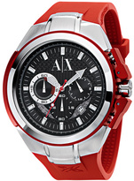 Armani Exchange Red Rubber  Stainless Steel Watch