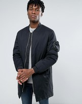 Bellfield Two Way Zip With Longline Parka With Dove Tail