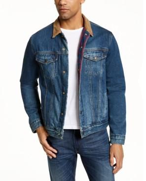 Lucky Brand Men's Corduroy Collar Plaid Lined Trucker Jacket