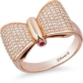 Zales Special Edition Enchanted Disney Snow White 1/2 CT. T.W. Diamond and Ruby Bow Ring in 10K Rose Gold