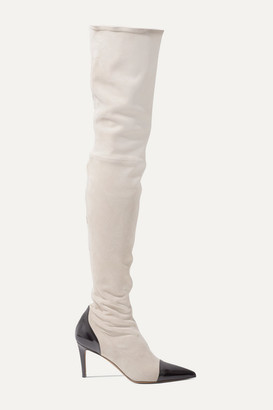 Alexandre Vauthier Helena Two-tone Patent Leather-trimmed Suede Thigh Boots - Beige