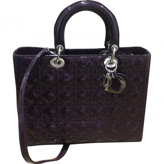Christian Dior Lady Purple Patent leather Handbags