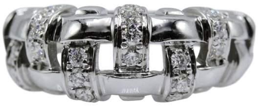 Tiffany & Co. 18K White Gold Vannerie Basket 0.50tcw Diamond Ring Size 6