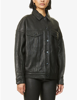 J Brand Drew regular-fit leather jacket