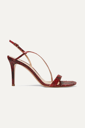 Gianvito Rossi 85 Python Slingback Sandals - Red