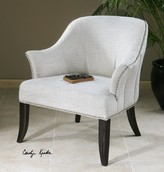 The Well Appointed House Linen and Cotton Armchair in Alabaster White