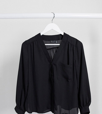 Asos DESIGN Petite long sleeve blouse with pocket detail in black