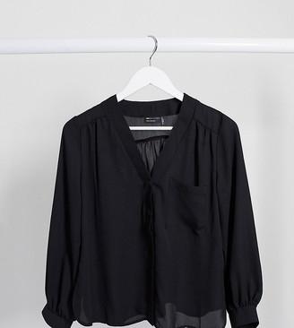ASOS DESIGN Petite long sleeve blouse with pocket detail in black