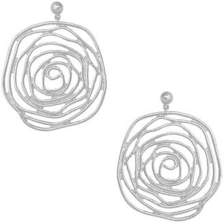Karine Sultan Sterling Silver Plated Openwork Rose Dangle Earrings
