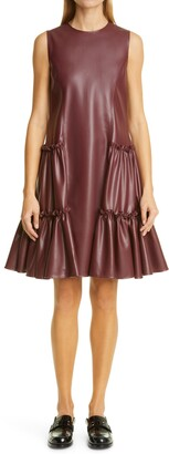 ADEAM Ruched Faux Leather Dress
