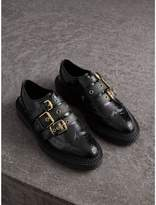 Burberry Buckled Polished Leather Brogues , Size: 39.5, Black