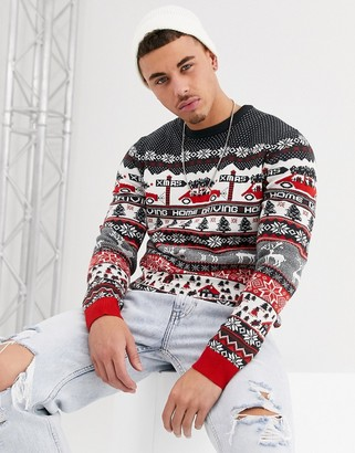 ONLY & SONS Holidays driving home sweater in dark navy