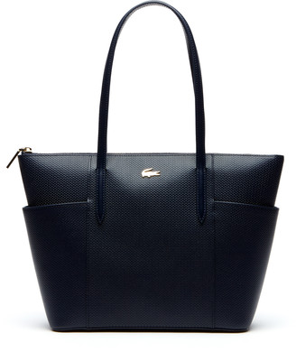 Lacoste Women's Chantaco Pique Leather Zip Pockets Tote Bag