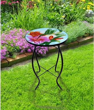 Hi Line Gift Ltd. FLORAL GLASS HUMMINGBIRD PLANT TABLE