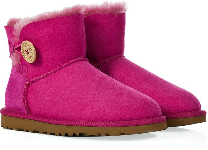 UGG Raspberry Suede Mini Bailey Button Boots
