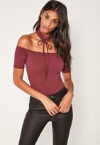 Missguided Purple Lace Up Choker Bardot Bodysuit