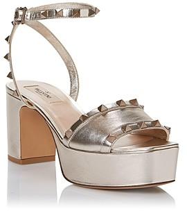 Valentino Women's Square Toe Rockstud Platform Sandals