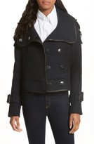 Veronica Beard Women's Lafayette Leather Trim Snap Jacket