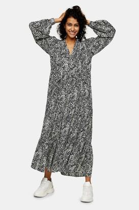 Topshop Womens Tall Animal Print Tiered Chuck On Midi Dress - Multi