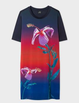 Paul Smith Gradient Floral Jersey T Shirt Dress - S .