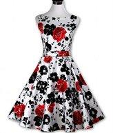JLHua Vintage 1950 Floral Garden Party Picnic Dress Cocktail Plus Size Skirt