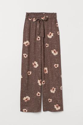 H&M Wide-cut Paper-bag Pants - Brown