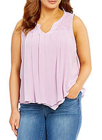 Democracy Plus Embroidered Crochet-Yoke Double-Layer Hanky-Hem Tank