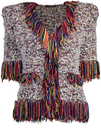 Balmain Mutli-Color Collarless Fringe Tweed Jacket