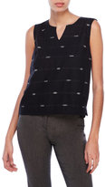 Eileen Fisher Patterned Notched Round Neck Top