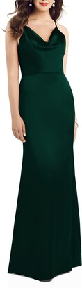Dessy Collection Dessy Colleciton Cowl Neck Charmeuse Trumpet Gown