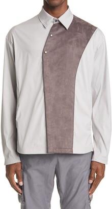 KIKO KOSTADINOV Brinda Faux Suede Panel Long Sleeve Shirt