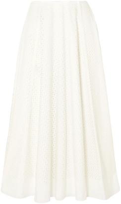 The Row Mara Laser-cut Cotton-blend Midi Skirt