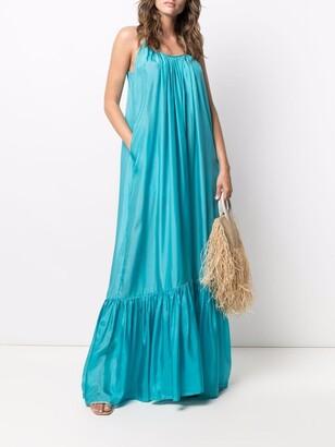 Kalita Pleated Sleeveless Silk Gown