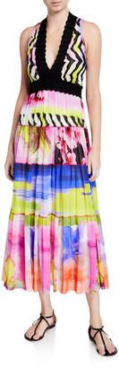 Fuzzi Printed V-Neck Sleeveless Scallop Trim Maxi Dress