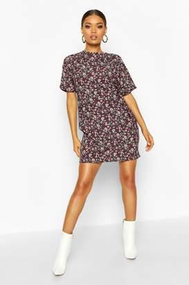 boohoo Short Sleeve Floral Print Shift Dress